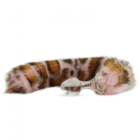 Faux fur tail Pink Snow Leopard