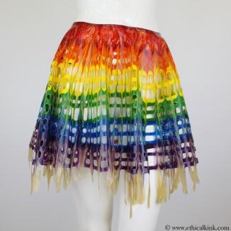 Rainbow latex mesh circle skirt