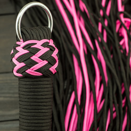 Black & Pink Vegan Paracord Flogger – Small