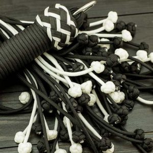 Black & White Vegan Paracord Flogger - Large