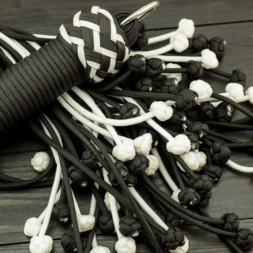 Black & White Vegan Paracord Flogger – Large
