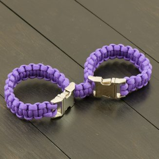 Purple Connected Handcuff Kit - Metal Buckle