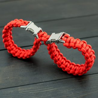 Red Connected Handcuffs - Metal Buckle